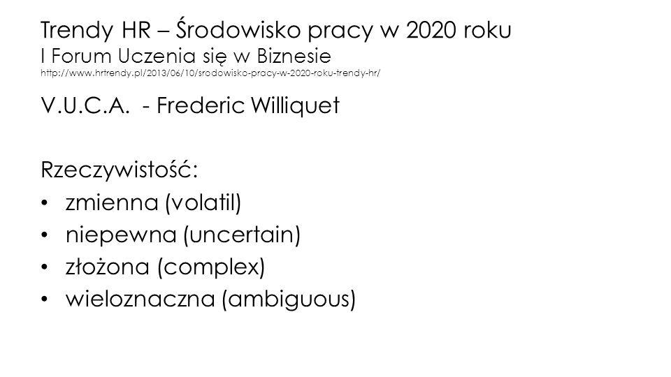 Trendy HR – Środowisko pracy w 2020 roku I Forum Uczenia się w Biznesie http://www.hrtrendy.pl/2013/06/10/srodowisko-pracy-w-2020-roku-trendy-hr/ V.U.C.A.