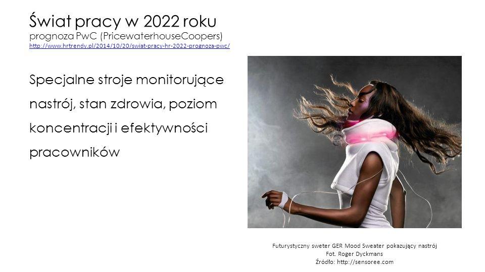 Świat pracy w 2022 roku prognoza PwC (PricewaterhouseCoopers) http://www.hrtrendy.pl/2014/10/20/swiat-pracy-hr-2022-prognoza-pwc/ http://www.hrtrendy.pl/2014/10/20/swiat-pracy-hr-2022-prognoza-pwc/ Specjalne stroje monitorujące nastrój, stan zdrowia, poziom koncentracji i efektywności pracowników Futurystyczny sweter GER Mood Sweater pokazujący nastrój Fot.