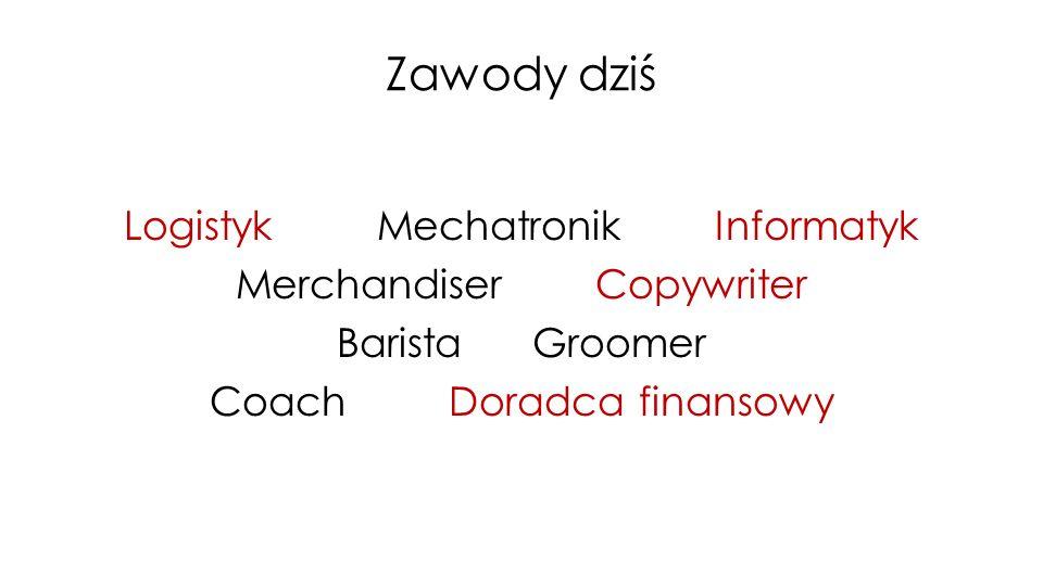 Zawody dziś Logistyk Mechatronik Informatyk Merchandiser Copywriter Barista Groomer Coach Doradca finansowy