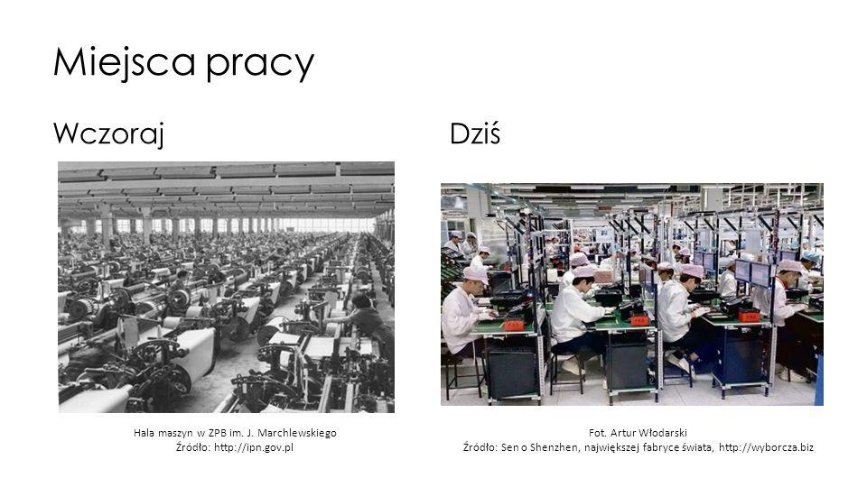 Miejsca pracy WczorajDziś Hala maszyn w ZPB im. J. Marchlewskiego Źródło: http://ipn.gov.pl Fot. Artur Włodarski Źródło: Sen o Shenzhen, największej f