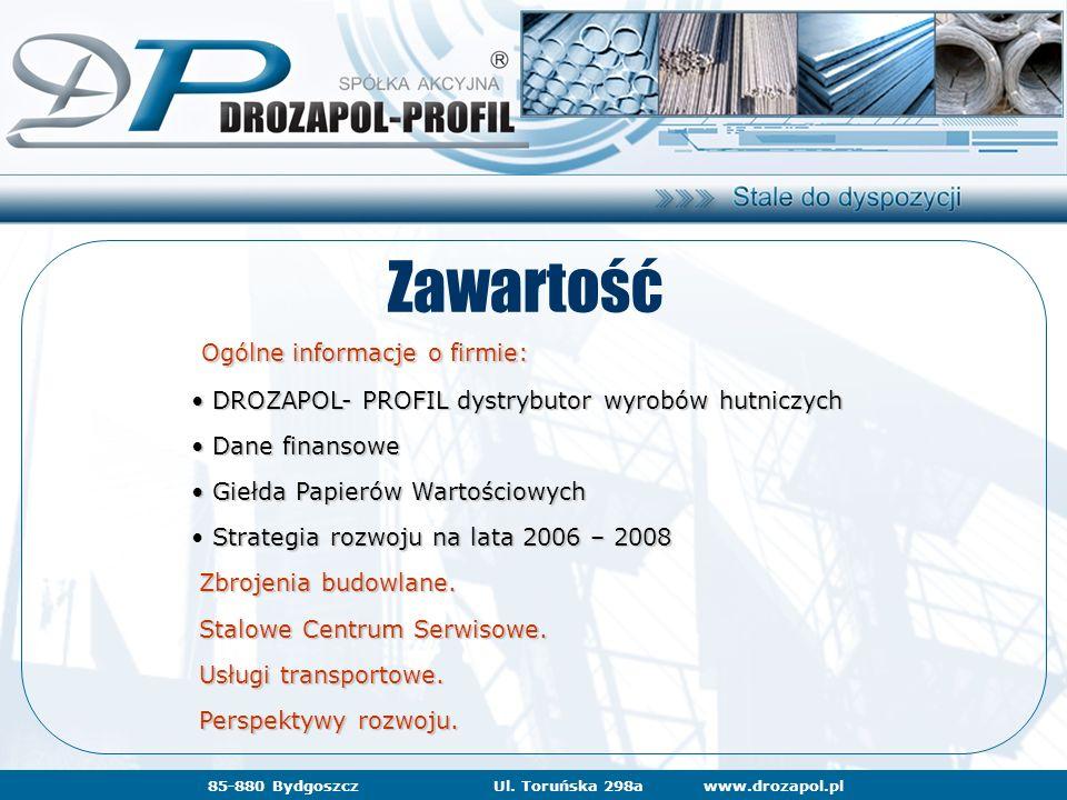 www.drozapol.pl85-880 BydgoszczUl. Toruńska 298awww.drozapol.pl Zawartość Ogólne informacje o firmie: Ogólne informacje o firmie: DROZAPOL- PROFIL dys