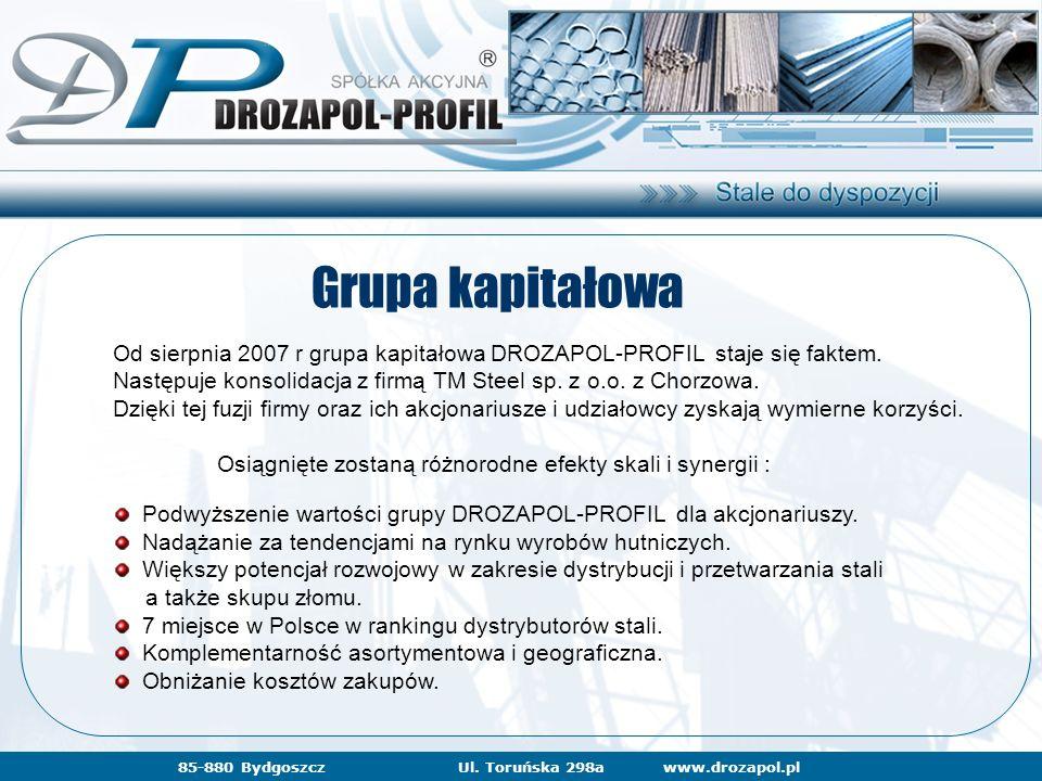 www.drozapol.pl85-880 BydgoszczUl. Toruńska 298a Grupa kapitałowa Od sierpnia 2007 r grupa kapitałowa DROZAPOL-PROFIL staje się faktem. Następuje kons