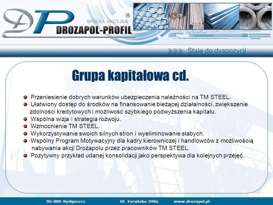 www.drozapol.pl85-880 BydgoszczUl. Toruńska 298a Grupa kapitałowa cd. Przeniesienie dobrych warunków ubezpieczenia należności na TM STEEL. Ułatwiony d
