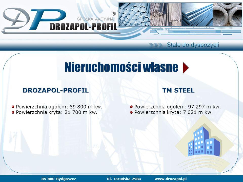 www.drozapol.pl85-880 BydgoszczUl. Toruńska 298a Nieruchomości własne DROZAPOL-PROFIL TM STEEL Powierzchnia ogółem: 89 800 m kw. Powierzchnia kryta: 2