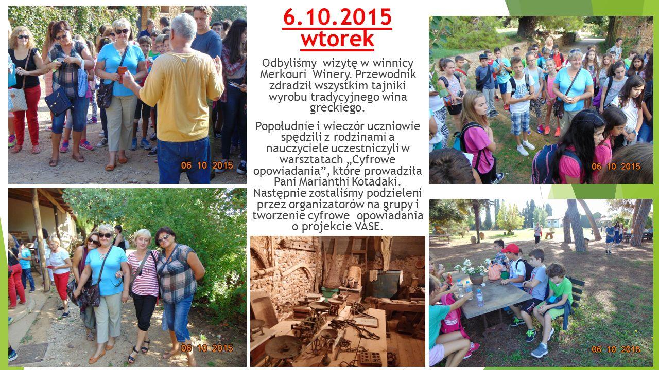 6.10.2015 wtorek Odbyliśmy wizytę w winnicy Merkouri Winery.