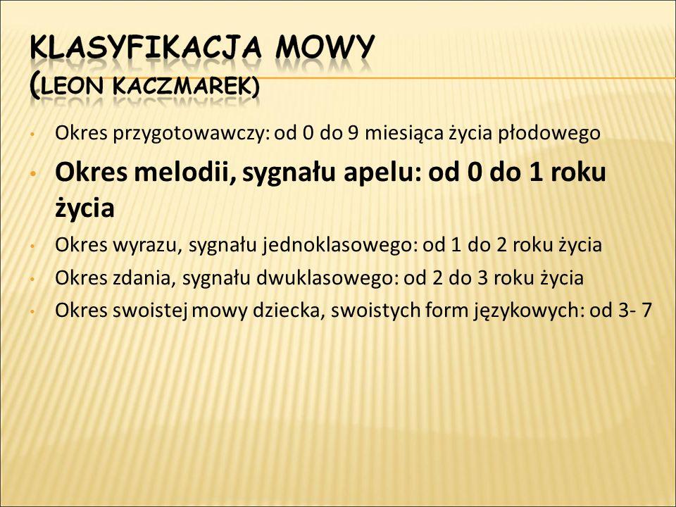 Okres przygotowawczy: od 0 do 9 miesiąca życia płodowego Okres melodii, sygnału apelu: od 0 do 1 roku życia Okres wyrazu, sygnału jednoklasowego: od 1