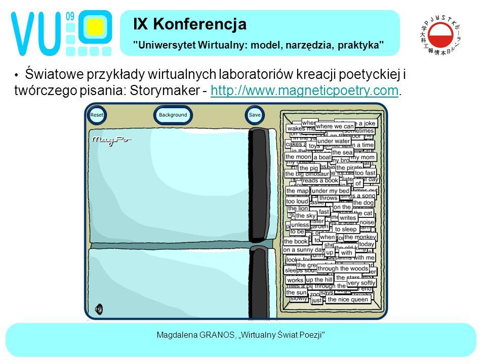 """Magdalena GRANOS, """"Wirtualny Świat Poezji Światowe przykłady wirtualnych laboratoriów kreacji poetyckiej i twórczego pisania: Storymaker - http://www.magneticpoetry.com.http://www.magneticpoetry.com IX Konferencja Uniwersytet Wirtualny: model, narzędzia, praktyka"""