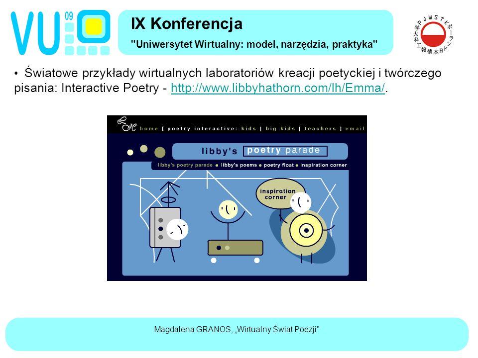 """Magdalena GRANOS, """"Wirtualny Świat Poezji Światowe przykłady wirtualnych laboratoriów kreacji poetyckiej i twórczego pisania: Interactive Poetry - http://www.libbyhathorn.com/lh/Emma/.http://www.libbyhathorn.com/lh/Emma/ IX Konferencja Uniwersytet Wirtualny: model, narzędzia, praktyka"""