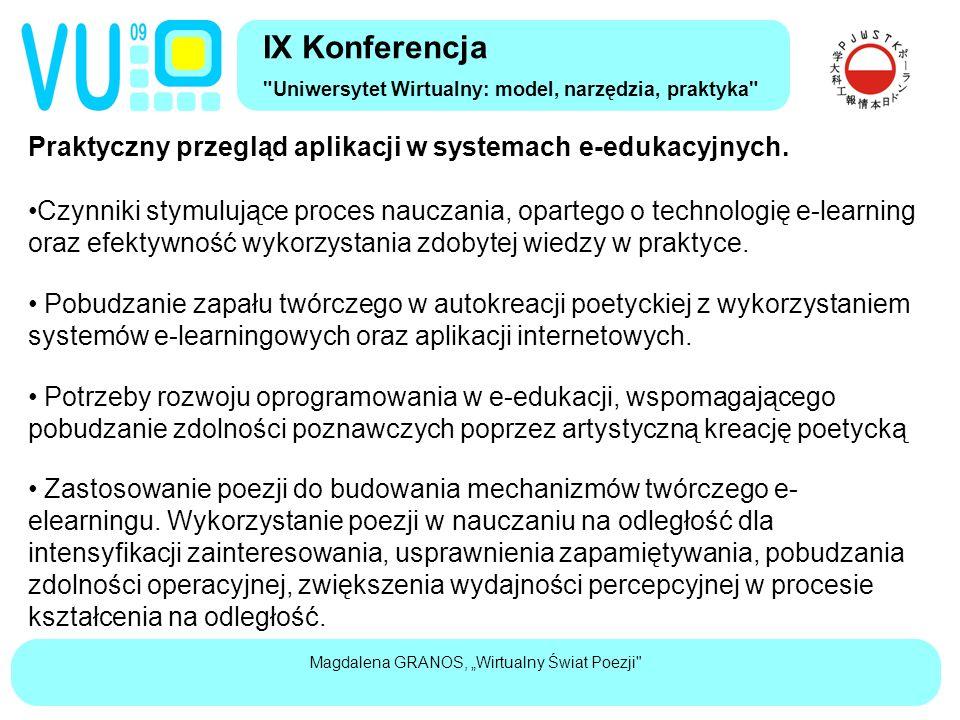 """Magdalena GRANOS, """"Wirtualny Świat Poezji Praktyczny przegląd aplikacji w systemach e-edukacyjnych."""