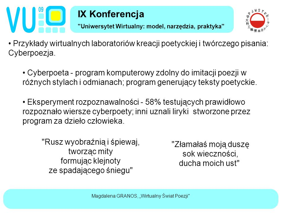 """Magdalena GRANOS, """"Wirtualny Świat Poezji Przykłady wirtualnych laboratoriów kreacji poetyckiej i twórczego pisania: Cyberpoezja."""