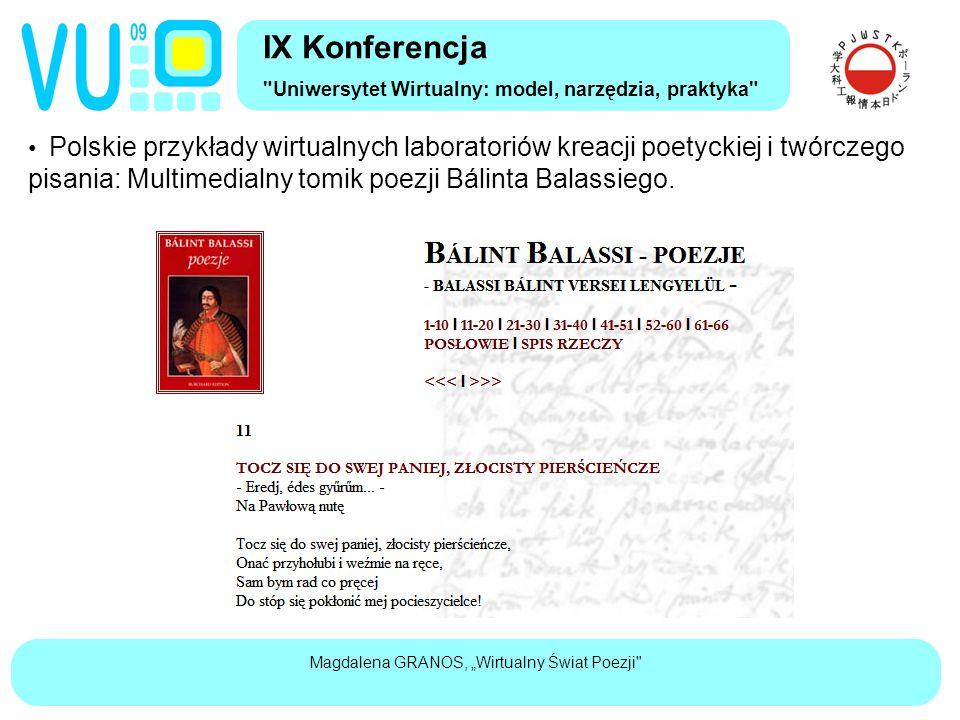 """Magdalena GRANOS, """"Wirtualny Świat Poezji"""