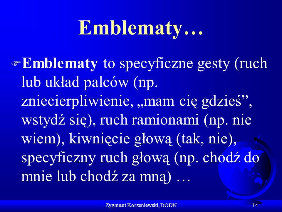 """Emblematy… F Emblematy to specyficzne gesty (ruch lub układ palców (np. zniecierpliwienie, """"mam cię gdzieś"""", wstydź się), ruch ramionami (np. nie wiem"""