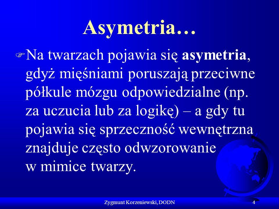 Asymetria… F Na twarzach pojawia się asymetria, gdyż mięśniami poruszają przeciwne półkule mózgu odpowiedzialne (np. za uczucia lub za logikę) – a gdy