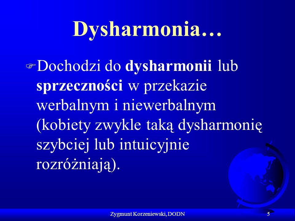 Dysharmonia… F Dochodzi do dysharmonii lub sprzeczności w przekazie werbalnym i niewerbalnym (kobiety zwykle taką dysharmonię szybciej lub intuicyjnie