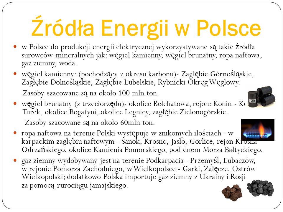 Źródła Energii w Polsce w Polsce do produkcji energii elektrycznej wykorzystywane s ą takie ź ródła surowców mineralnych jak: w ę giel kamienny, w ę giel brunatny, ropa naftowa, gaz ziemny, woda.