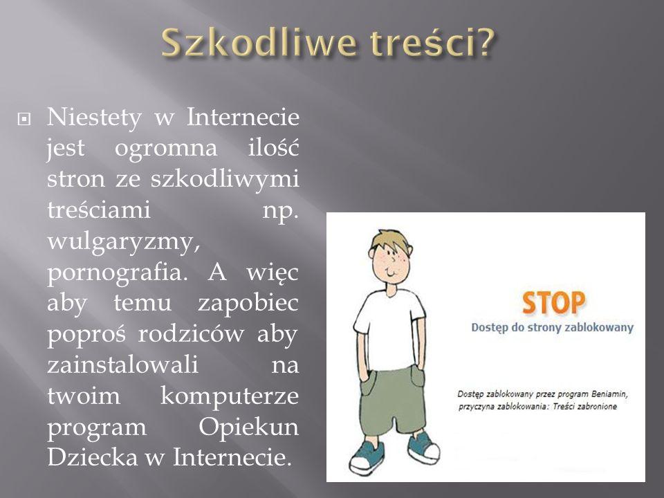  Niestety w Internecie jest ogromna ilość stron ze szkodliwymi treściami np.