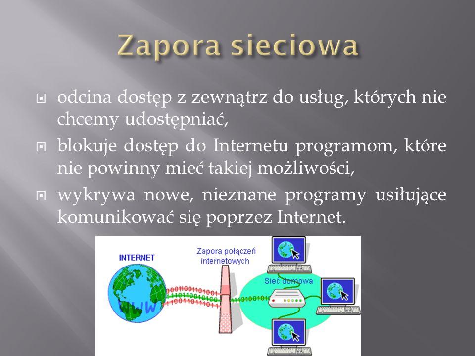  odcina dostęp z zewnątrz do usług, których nie chcemy udostępniać,  blokuje dostęp do Internetu programom, które nie powinny mieć takiej możliwości,  wykrywa nowe, nieznane programy usiłujące komunikować się poprzez Internet.