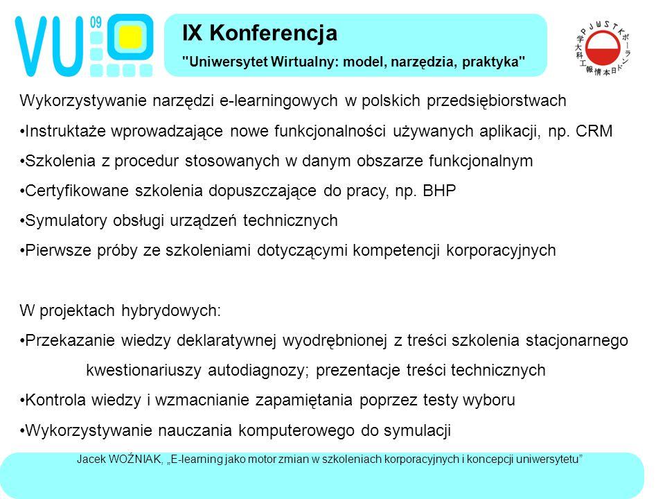 """Jacek WOŹNIAK, """"E-learning jako motor zmian w szkoleniach korporacyjnych i koncepcji uniwersytetu """"Uczenie na życzenie w korporacjach Swobodne wykorzystywanie korporacyjnych zasobów skodyfikowanego uczenia W szkoleniach obowiązkowych – sterowanie poprzez cele (roczne) kontrola efektu: używanie praktyczne, raczej niż wyniki egzaminu Do rozwiązywania bieżących problemów zawodowych – pytania o doświadczenie innych, zadawane na branżowych forach dyskusyjnych Indywidualna komunikacja oraz ocena wartości informacji W rezultacie: niskie wykorzystywanie e-learningu do zbierania i kodyfikowania wiedzy rozproszonej personalizacja wiedzy ukrytej i rozproszonej – nie zastępowanie osobistej relacji wzmocnienie siły pracownika wiedzy w relacjach z zarządem IX Konferencja Uniwersytet Wirtualny: model, narzędzia, praktyka"""