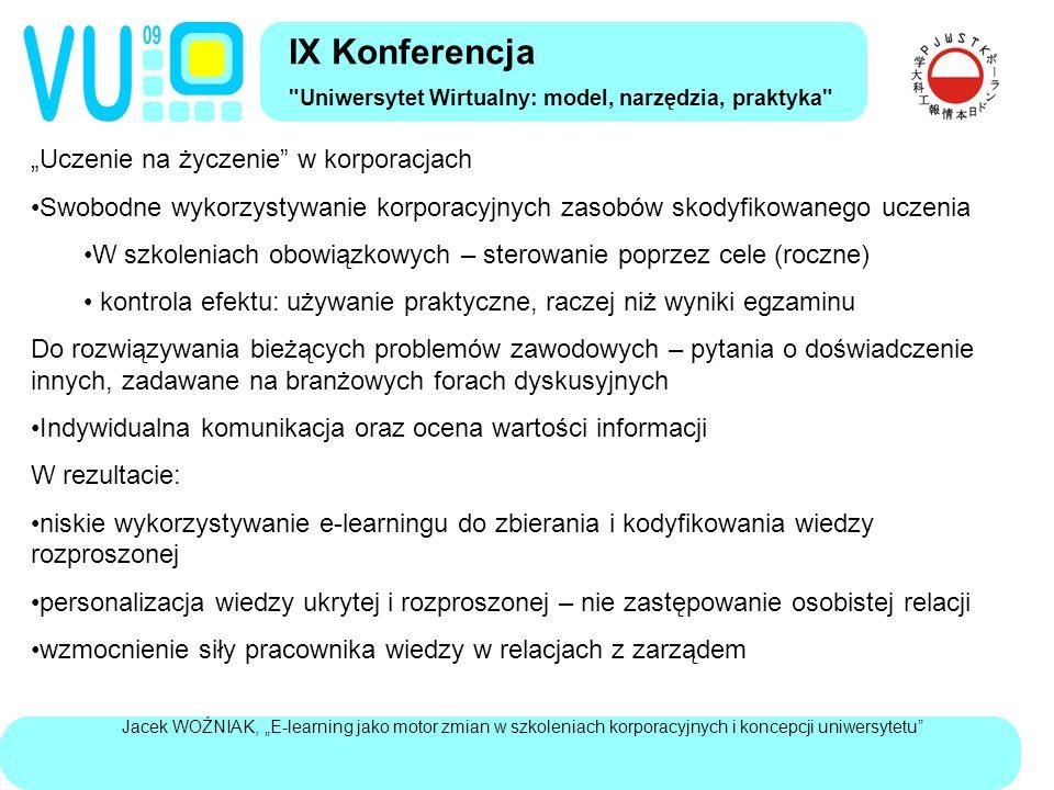 """Jacek WOŹNIAK, """"E-learning jako motor zmian w szkoleniach korporacyjnych i koncepcji uniwersytetu Zasadnicza różnica pomiędzy szkoleniami a kształceniem akademickim to bazowanie na dyskusji, a nie na jednostronnym przekazie i samokształceniu Dwa typy """"uniwersytetu wirtualnego Wirtualne kampusy: wspomaganie technologicznie działań uczących nauczycieli akademickich spontaniczne i oddolne inicjatywy różnorodne wykorzystywanie dostępnych możliwości technologicznych: tablice ogłoszeń, komunikacja informacyjna ze studentami, testy i ćwiczenia (autodiagnozy), udostępnienie dodatkowych treści nauczających, czat jako konsultacje, ewentualnie dyskusje asynchroniczne Odgórnie sterowane wirtualne nauczanie Przekaz treści nauczających Realizacja zadań i dyskusji w grupie ćwiczeniowej pod nadzorem mentora IX Konferencja Uniwersytet Wirtualny: model, narzędzia, praktyka"""