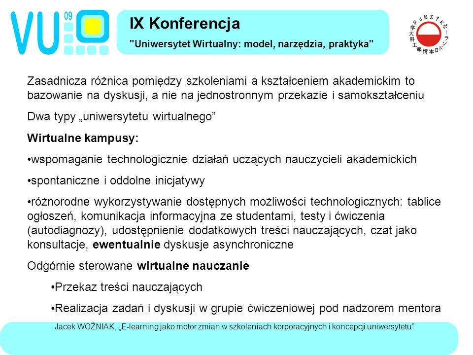 """Jacek WOŹNIAK, """"E-learning jako motor zmian w szkoleniach korporacyjnych i koncepcji uniwersytetu Styloryzowane nauczanie jako rozwiązanie problemu wirtualnego nauczania Materiał treści nauczających przygotowany przez ekspertów merytorycznych treści wykładowe i zadania do zrealizowania na ćwiczeniach realizacja zadań ćwiczeniowych pokrywa kompetencje zadane przez program certyfikowany Opracowanie treści nauczających przez ekspertów ds."""