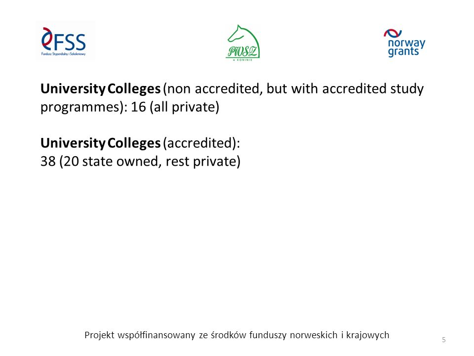 University Colleges (non accredited, but with accredited study programmes): 16 (all private) University Colleges (accredited): 38 (20 state owned, rest private) Projekt współfinansowany ze środków funduszy norweskich i krajowych 5