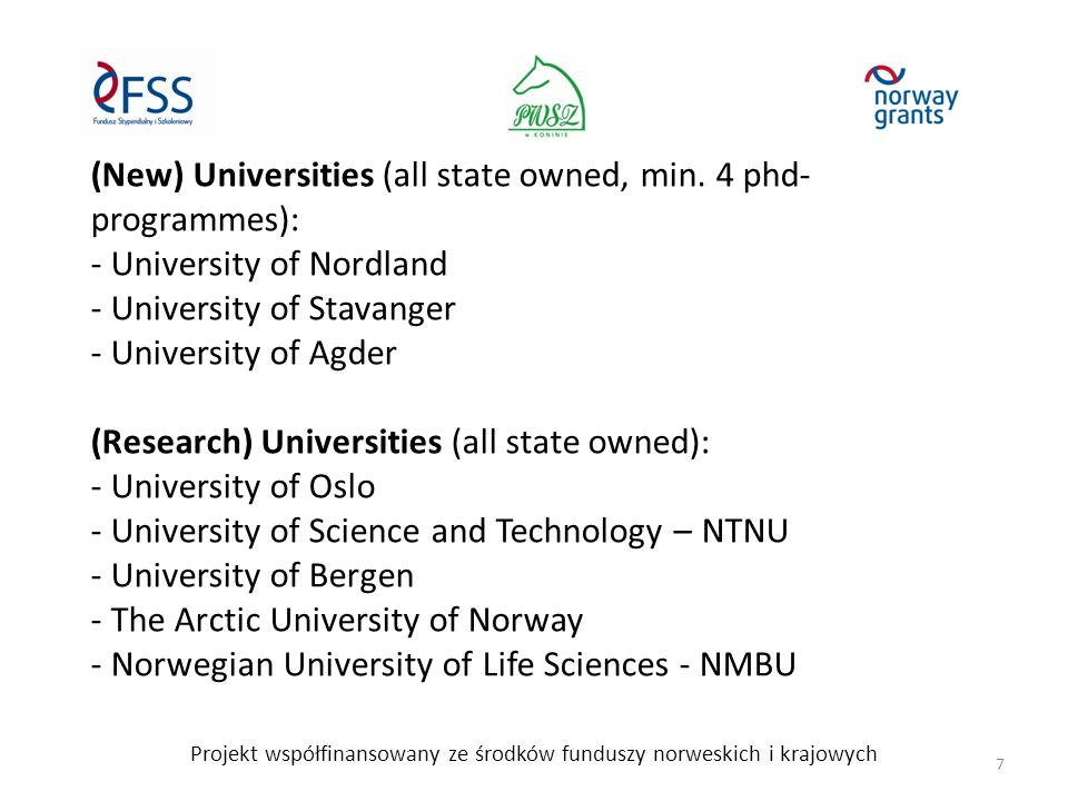(New) Universities (all state owned, min.