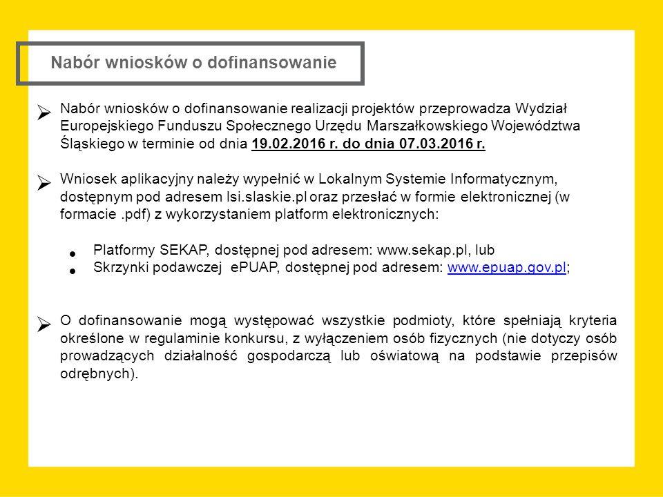 Nabór wniosków o dofinansowanie  Nabór wniosków o dofinansowanie realizacji projektów przeprowadza Wydział Europejskiego Funduszu Społecznego Urzędu Marszałkowskiego Województwa Śląskiego w terminie od dnia 19.02.2016 r.