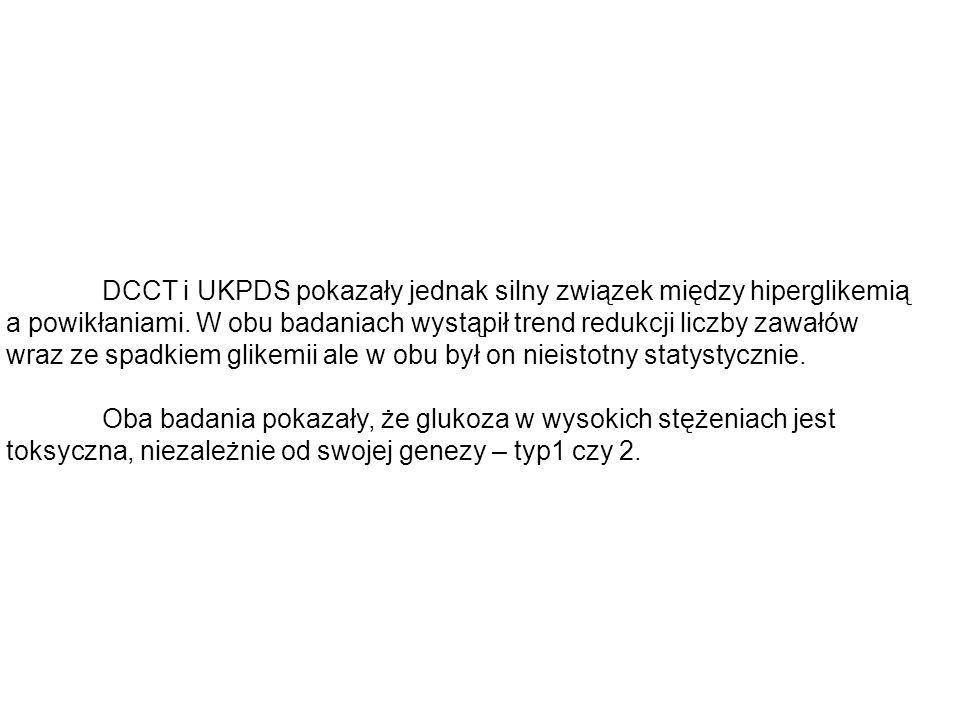 DCCT i UKPDS pokazały jednak silny związek między hiperglikemią a powikłaniami. W obu badaniach wystąpił trend redukcji liczby zawałów wraz ze spadkie