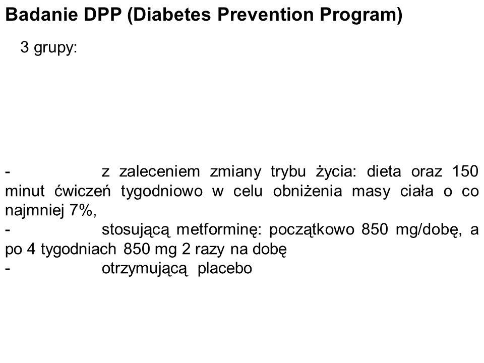 Badanie DPP (Diabetes Prevention Program) 3 grupy: - z zaleceniem zmiany trybu życia: dieta oraz 150 minut ćwiczeń tygodniowo w celu obniżenia masy ci