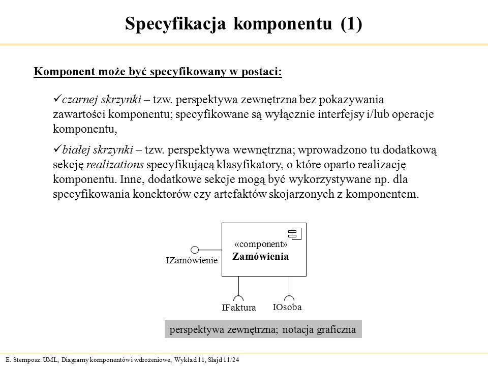 E. Stemposz. UML, Diagramy komponentów i wdrożeniowe, Wykład 11, Slajd 11/24 Specyfikacja komponentu (1) Komponent może być specyfikowany w postaci: c