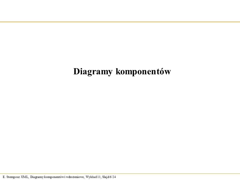 E. Stemposz. UML, Diagramy komponentów i wdrożeniowe, Wykład 11, Slajd 6/24 Diagramy komponentów
