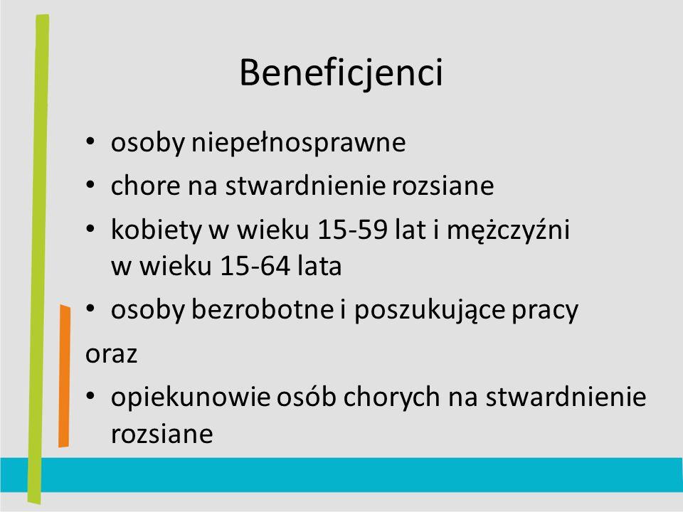 Beneficjenci osoby niepełnosprawne chore na stwardnienie rozsiane kobiety w wieku 15-59 lat i mężczyźni w wieku 15-64 lata osoby bezrobotne i poszukujące pracy oraz opiekunowie osób chorych na stwardnienie rozsiane
