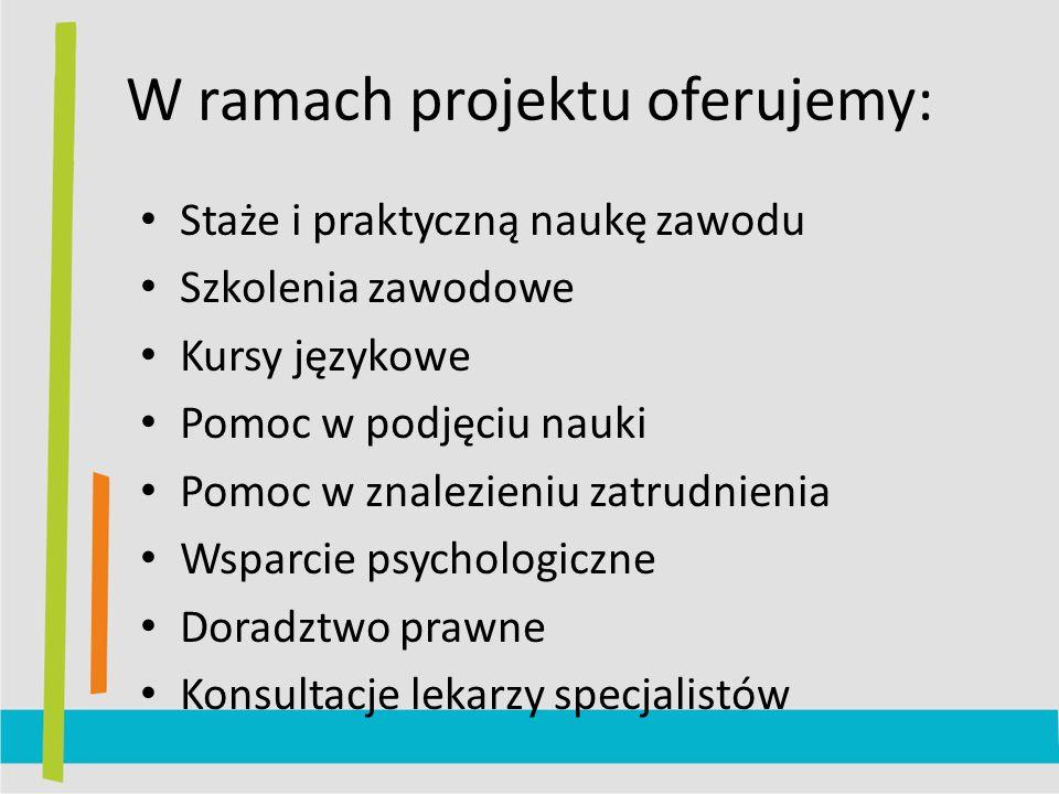 W ramach projektu oferujemy: Staże i praktyczną naukę zawodu Szkolenia zawodowe Kursy językowe Pomoc w podjęciu nauki Pomoc w znalezieniu zatrudnienia