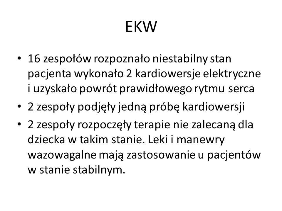 EKW 16 zespołów rozpoznało niestabilny stan pacjenta wykonało 2 kardiowersje elektryczne i uzyskało powrót prawidłowego rytmu serca 2 zespoły podjęły jedną próbę kardiowersji 2 zespoły rozpoczęły terapie nie zalecaną dla dziecka w takim stanie.