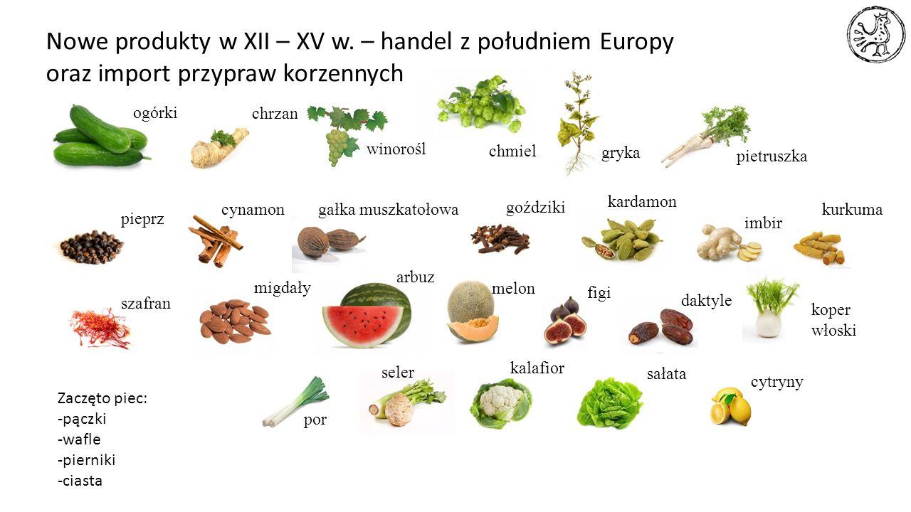 Nowe produkty w XII – XV w. – handel z południem Europy oraz import przypraw korzennych ogórki chrzan winorośl chmiel pieprz gryka cynamongałka muszka