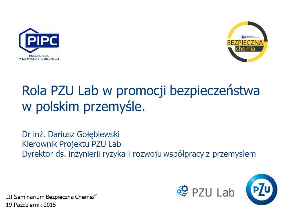 Rola PZU Lab w promocji bezpieczeństwa w polskim przemyśle. Dr inż. Dariusz Gołębiewski Kierownik Projektu PZU Lab Dyrektor ds. inżynierii ryzyka i ro