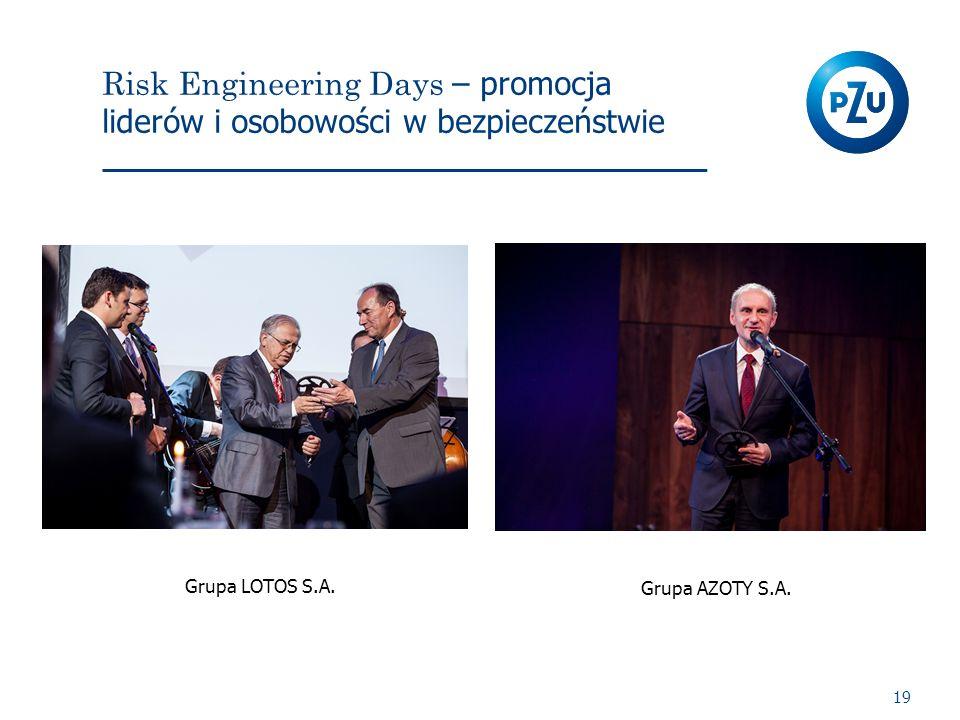 Risk Engineering Days – promocja liderów i osobowości w bezpieczeństwie 19 Grupa LOTOS S.A. Grupa AZOTY S.A.