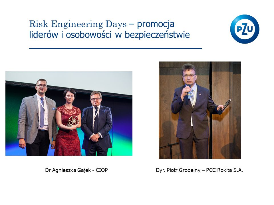 Risk Engineering Days – promocja liderów i osobowości w bezpieczeństwie Dr Agnieszka Gajek - CIOPDyr. Piotr Grobelny – PCC Rokita S.A.