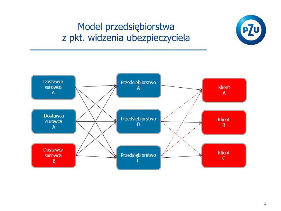 4 Przedsiębiorstwo A Przedsiębiorstwo B Przedsiębiorstwo C Dostawca surowca A Dostawca surowca B Dostawca surowca A Klient A Klient B Klient C Model p