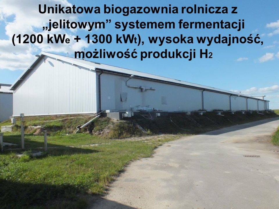 """Unikatowa biogazownia rolnicza z """"jelitowym"""" systemem fermentacji (1200 kW e + 1300 kW t ), wysoka wydajność, możliwość produkcji H 2"""