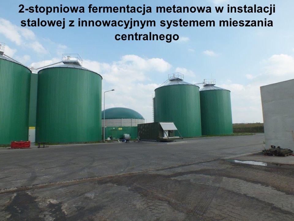 2-stopniowa fermentacja metanowa w instalacji stalowej z innowacyjnym systemem mieszania centralnego