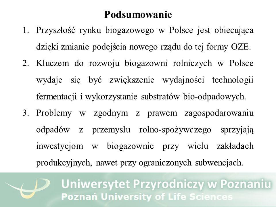Podsumowanie 1.Przyszłość rynku biogazowego w Polsce jest obiecująca dzięki zmianie podejścia nowego rządu do tej formy OZE. 2.Kluczem do rozwoju biog