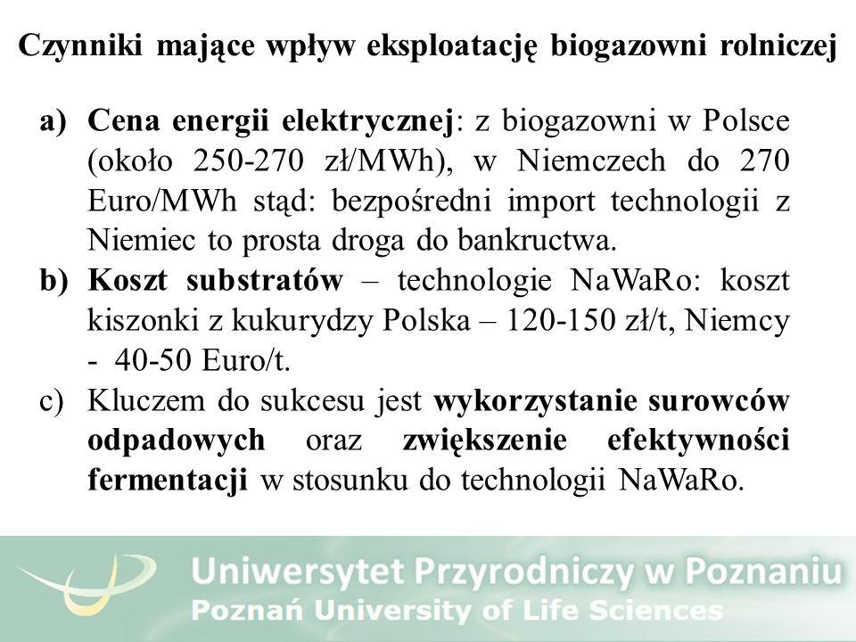 a)Cena energii elektrycznej: z biogazowni w Polsce (około 250-270 zł/MWh), w Niemczech do 270 Euro/MWh stąd: bezpośredni import technologii z Niemiec