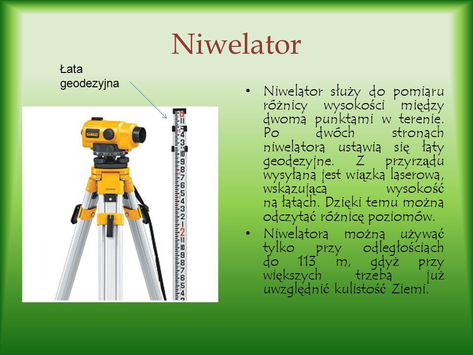 Niwelator Niwelator słu ż y do pomiaru ró ż nicy wysoko ś ci mi ę dzy dwoma punktami w terenie. Po dwóch stronach niwelatora ustawia si ę łaty geodezy