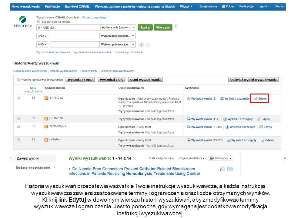 Historia wyszukiwań przedstawia wszystkie Twoje instrukcje wyszukiwawcze, a każda instrukcja wyszukiwawcza zawiera zastosowane terminy i ograniczenia oraz liczbę otrzymanych wyników.