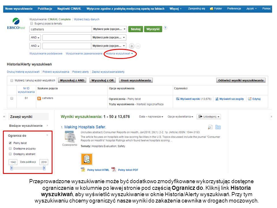 Przeprowadzone wyszukiwanie może być dodatkowo zmodyfikowane wykorzystując dostępne ograniczenia w kolumnie po lewej stronie pod częścią Ogranicz do.