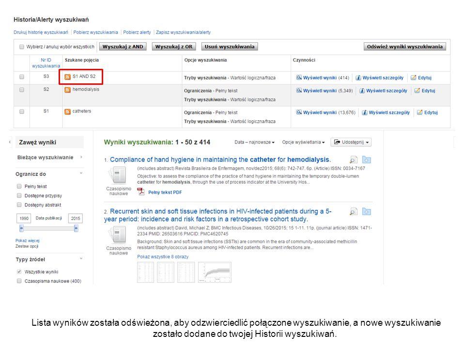 Wyszukiwanie może być dodatkowo ograniczone poprzez użycie ograniczeń w części Ogranicz do po lewej stronie.