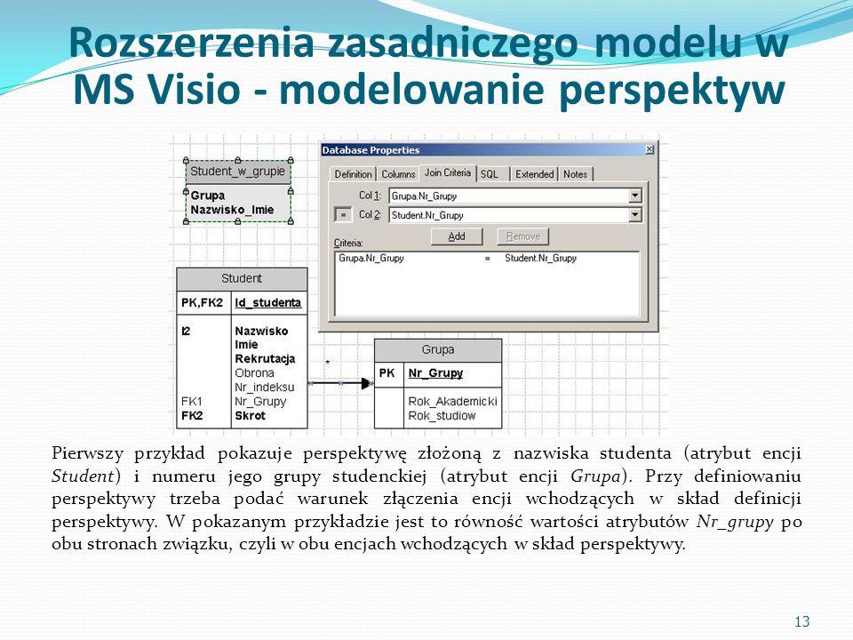Rozszerzenia zasadniczego modelu w MS Visio - modelowanie perspektyw Pierwszy przykład pokazuje perspektywę złożoną z nazwiska studenta (atrybut encji Student) i numeru jego grupy studenckiej (atrybut encji Grupa).