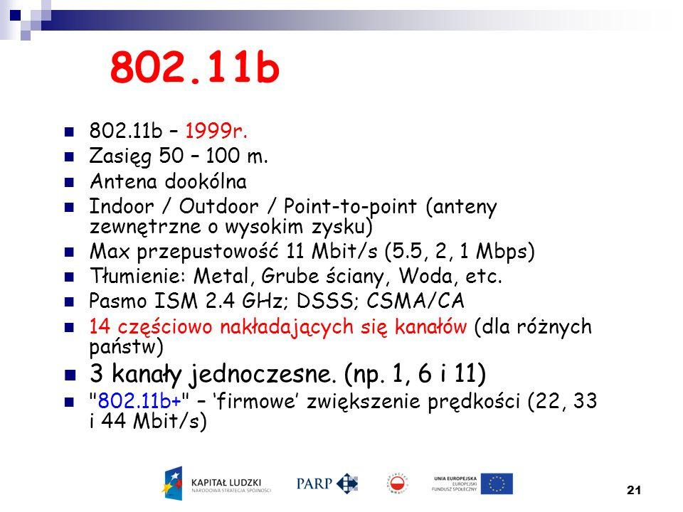 21 802.11b 802.11b – 1999r. Zasięg 50 – 100 m. Antena dookólna Indoor / Outdoor / Point-to-point (anteny zewnętrzne o wysokim zysku) Max przepustowość