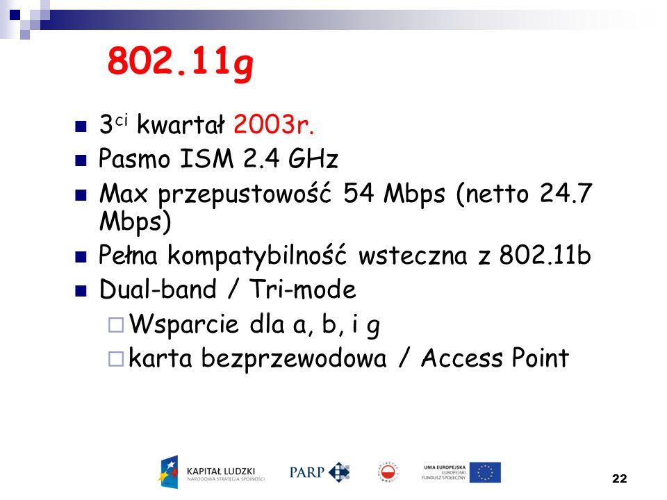 22 802.11g 3 ci kwartał 2003r. Pasmo ISM 2.4 GHz Max przepustowość 54 Mbps (netto 24.7 Mbps) Pełna kompatybilność wsteczna z 802.11b Dual-band / Tri-m